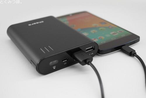 Nexus5を充電中 cheero Power Plus 2 10400mAh 大容量モバイルバッテリー